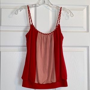 Red & Pink Tank with Rope Style Straps